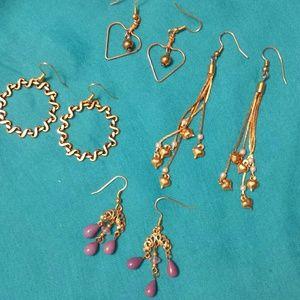 Vintage 1980's Brass Earrings Hearts Etc